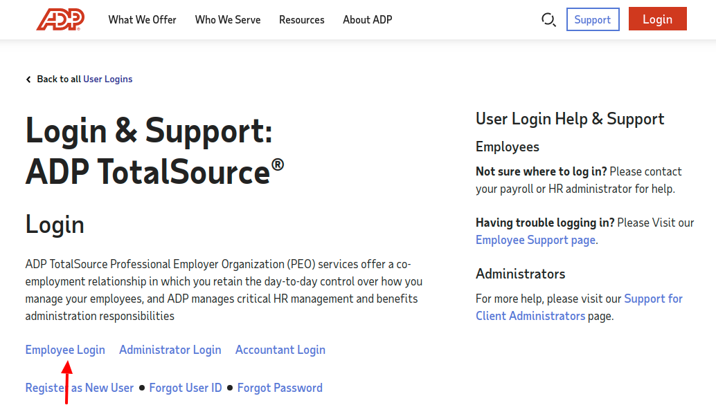 ADP TotalSource Employee Administrator Login