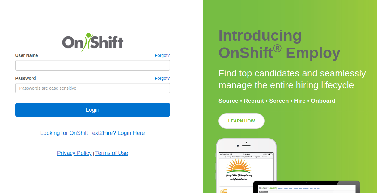 OnShift Login