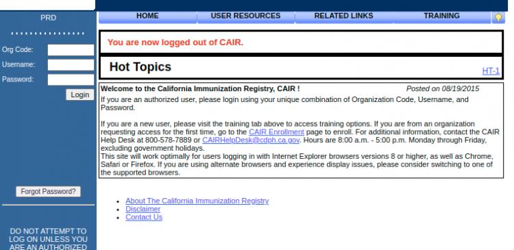 Scc CAIR Portal Login