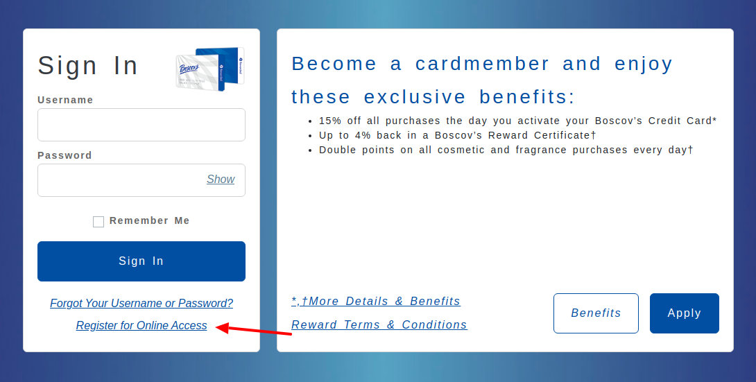 Boscovs Credit Card Register