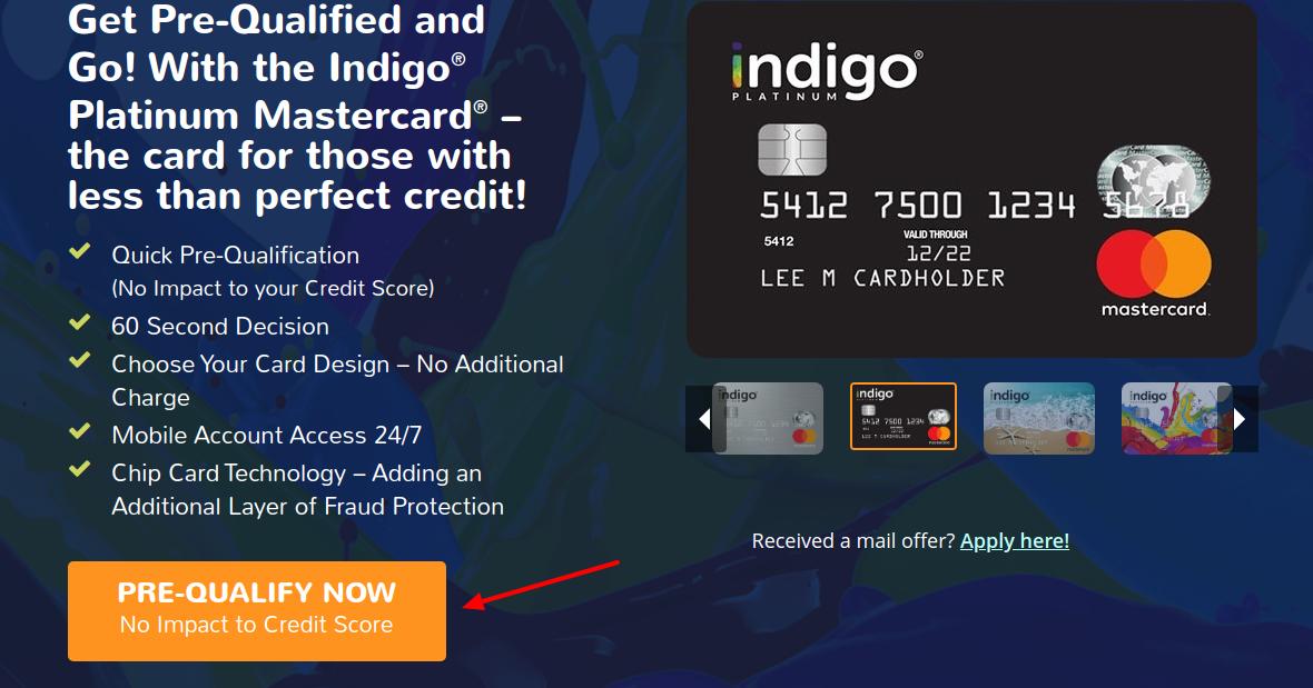 Indigo Card Pre-Qulify