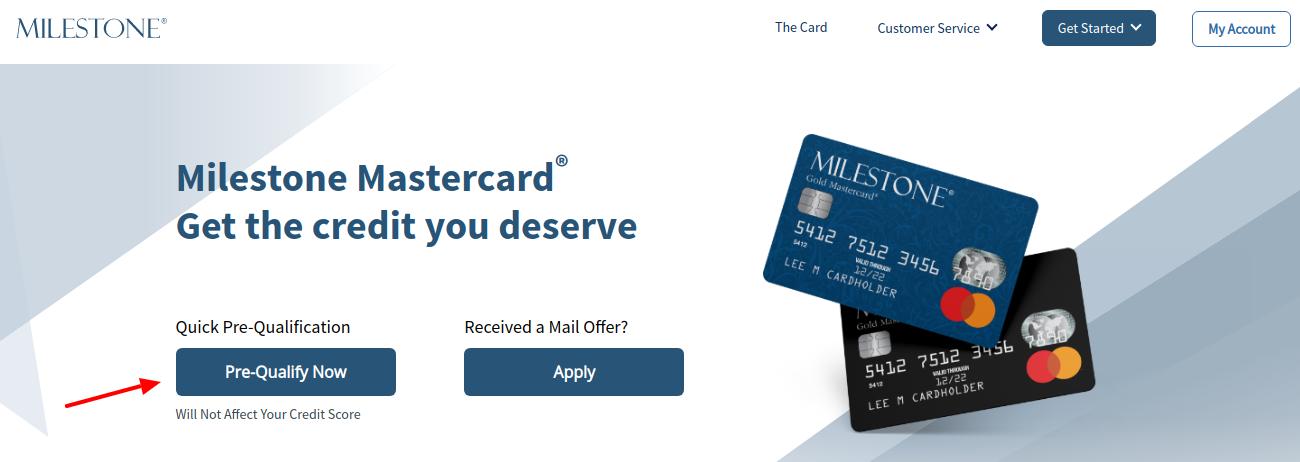 Milestone Credit Card Pre Qulify