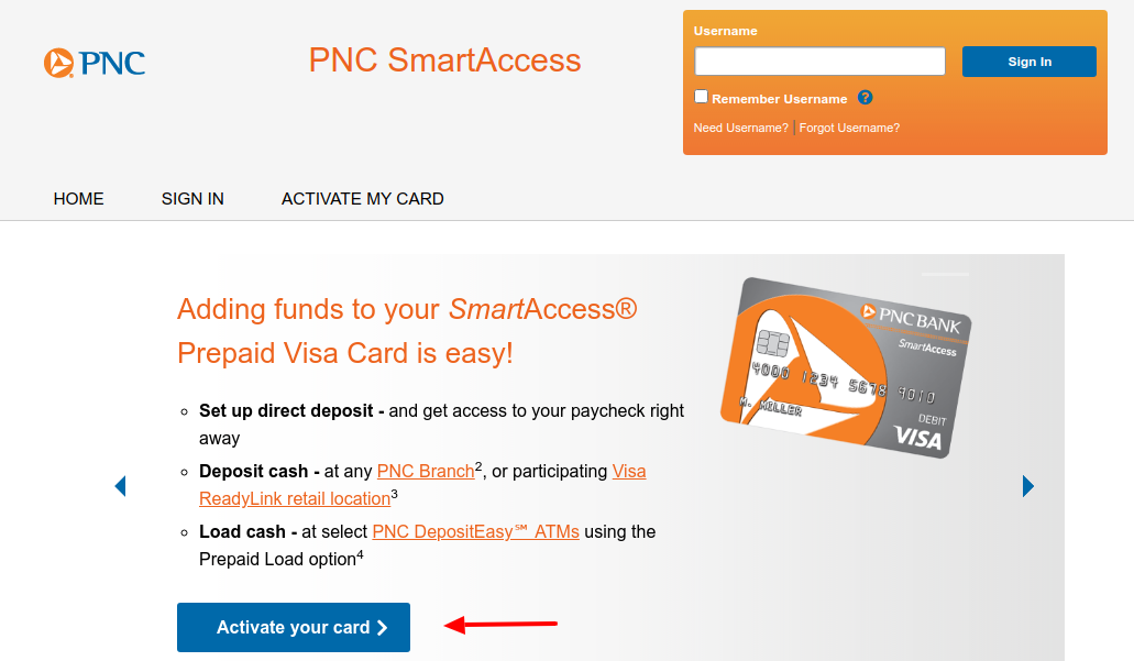 PNC SmartAccess Activate a Card