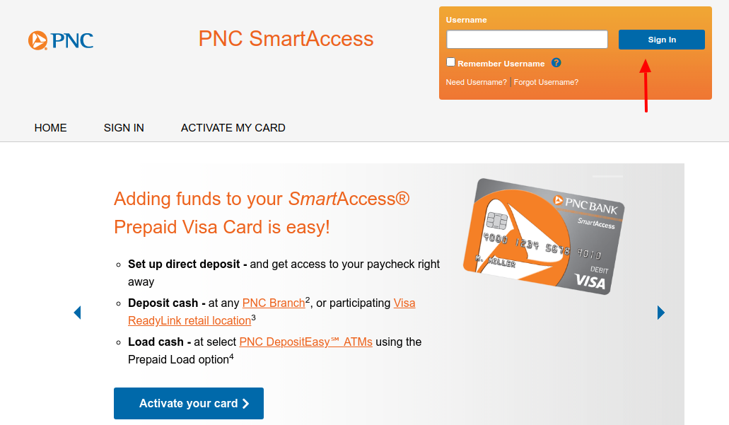 PNC SmartAccess Card Login