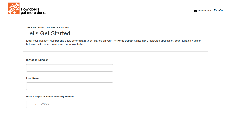 Home Depot Consumer Credit Card Application